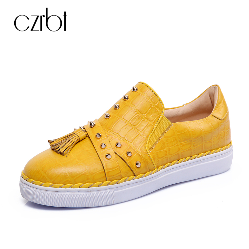CZRBT Spring Autumn Genuine Leather Flats Women Casual Shoes Fashion Handmade Loafers Fringe Rivet Solid Color Flat Shoes 2017 fashion women shoes genuine leather loafers women mixed colors casual shoes handmade soft comfortable shoes women flats