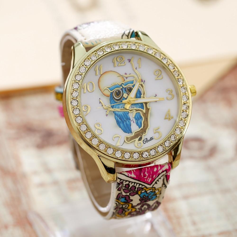 Geneva Pu Leather Owl Watch Woman Vintage Retro Women Wristwatch Golden Rim Girl Dama Students Clock