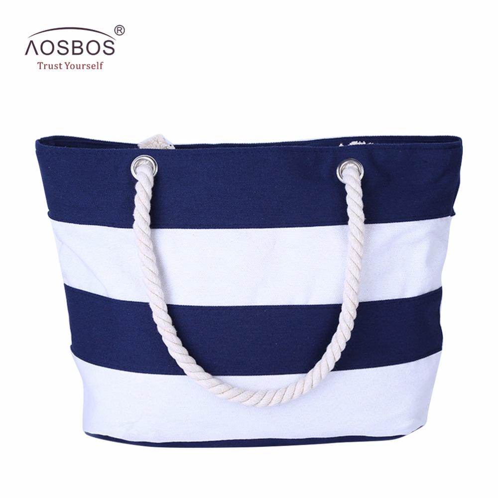 Aosbos Women Beach Canvas Single Shoulder Bag Striped Handbags Ladies Large Capacity Totes Bag Zipper Solid Bag For Female aosbos fashion portable insulated canvas lunch bag thermal food picnic lunch bags for women kids men cooler lunch box bag tote