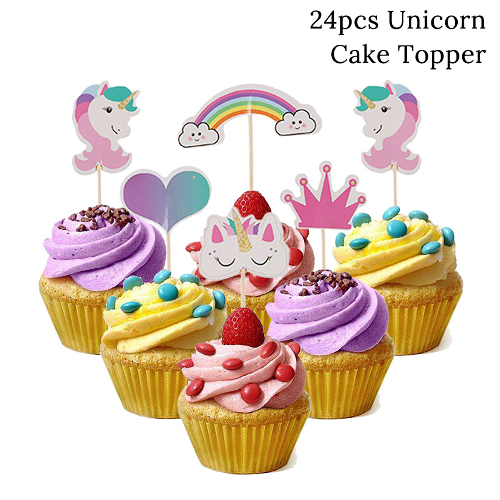 Unicorn Cupcake Toppers Rainbow Heart Crown Cake Toppers Themed Party Decorative