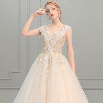 Wedding Dress 2019 New Style Sexy V-neck Golden Appliques Long Tail Bridal Dress a Line Ball Gowns Vestidos De Noiva Wedding Dresses