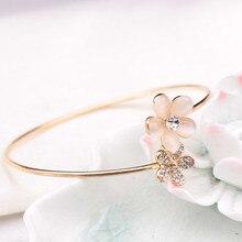 Новая модная женская с кристаллами, двойной браслет с пятью листами, браслет, ювелирный подарок, браслет из сплава нержавеющей стали, золотой популярный drpopship