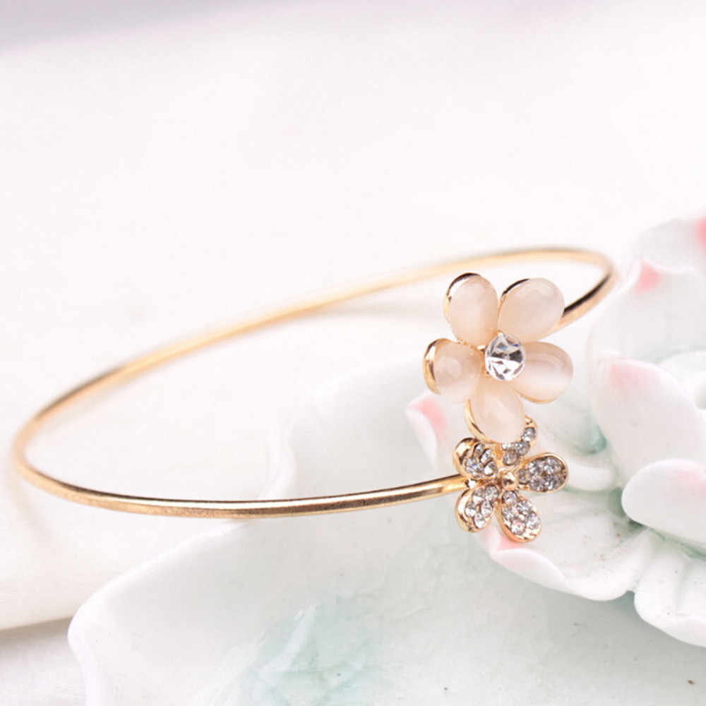 New Fashion Lady Crystal Double Five Leaf Open Bangles Bracelet Jewelry Gift Stainless Steel Alloy Bangle Gold Popular Dropship