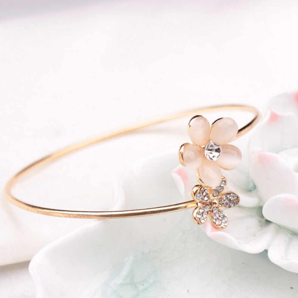Nowa moda damska kryształ podwójne pięć liści otwarte bransoletki typu Bangle bransoletka biżuteria prezent stop stali nierdzewnej bransoletka złota popularne Dropship