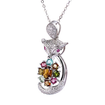 hot sale SGARIT brand new fashion fox animal 925 silver colorful natural tourmaline gemstone big pendant necklace jewelry