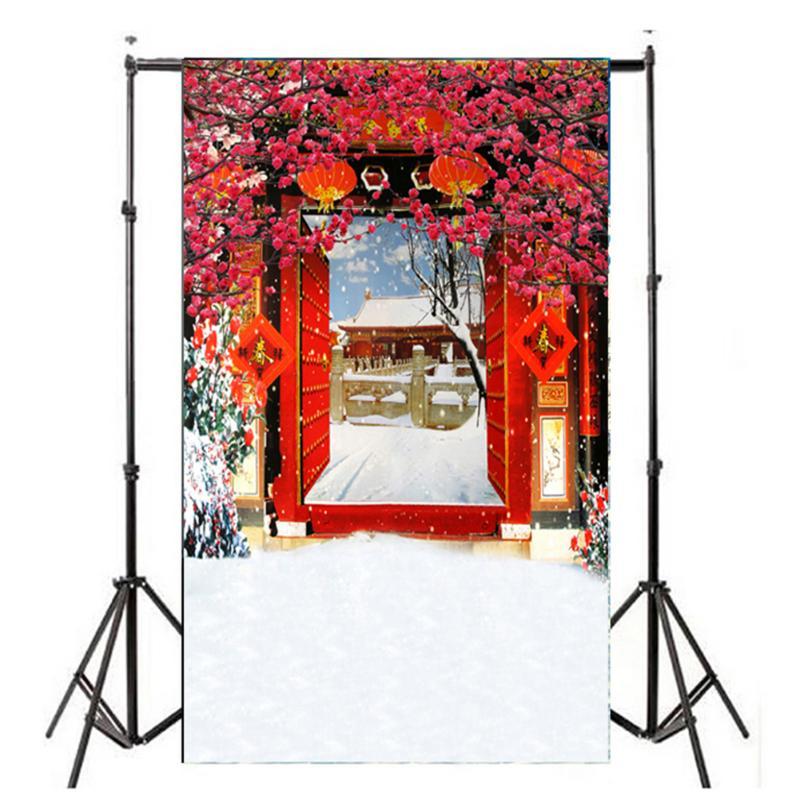 купить 2.95x4.92ft Open-Door New Year snowing Background Chinese Spring Festival Flower Photography Props Studio Backdrops недорого