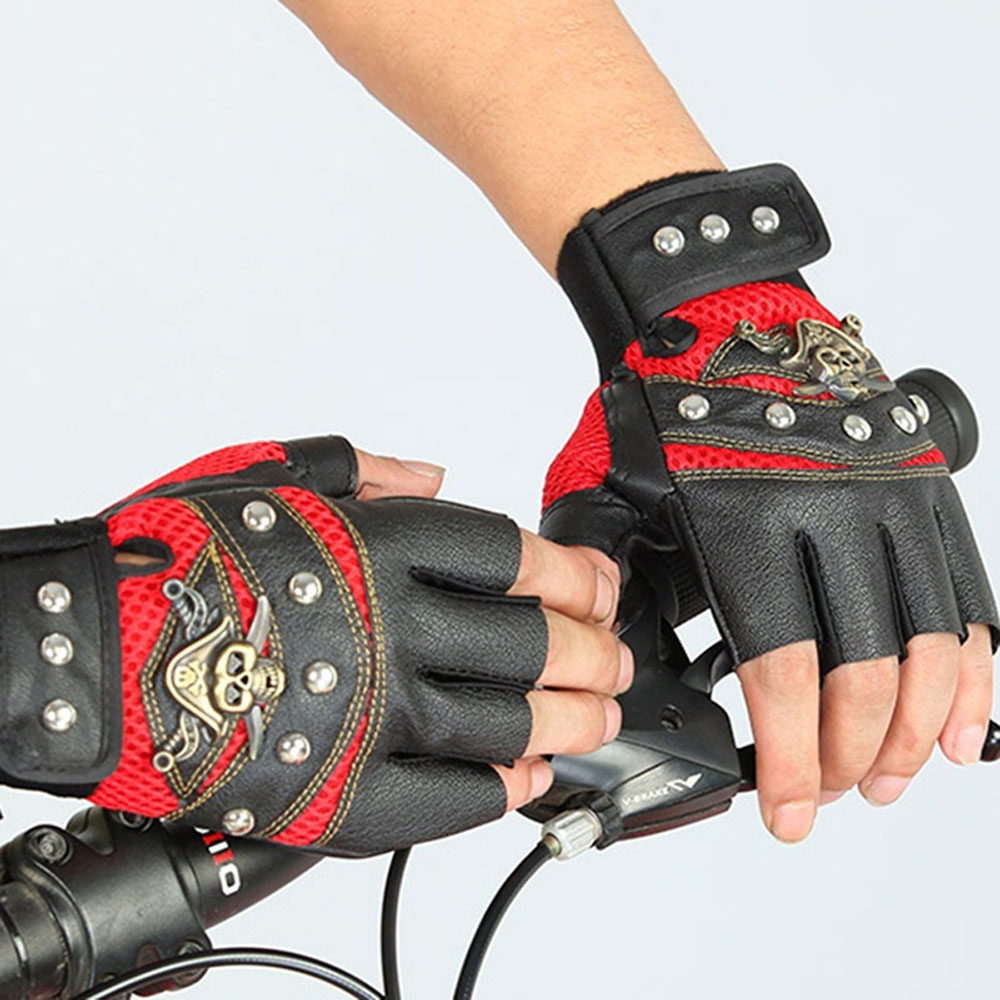 1Pair Biker Gloves PU Leather Skull Fingerless Gloves Driving Motorcycle Unisex Women Men Waterproof Windproof Accessories Gift