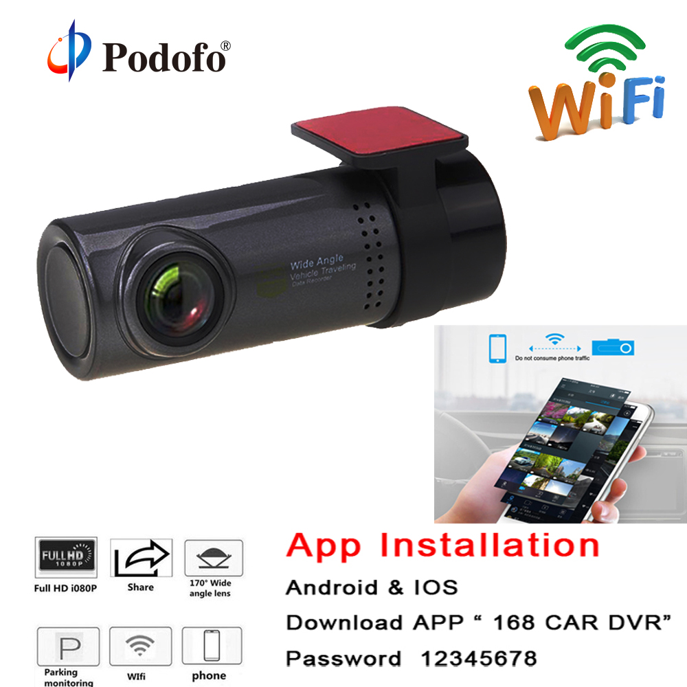 Podofo Mini WiFi Car DVR Camera Dashboard 360 degree HD 720P Video Recorder Auto Front Dash Cam Digital Registrar Camcorder