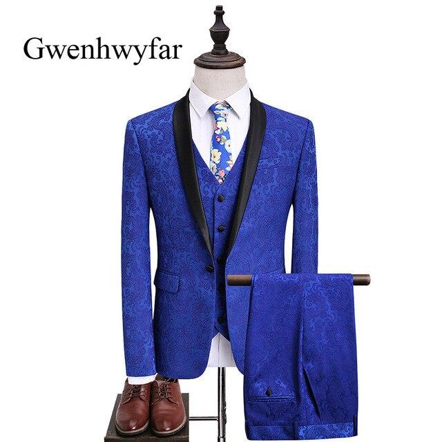 Shawl Lapel Suit Men 2018 Latest Coat Pant Design Blue Wedding ...