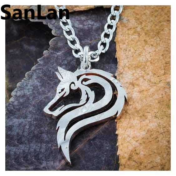 1pcs drop shipping stainless steel material hand cut jewelry Wolf Necklace Animal Track Jewelry men tribal Necklace SanLan