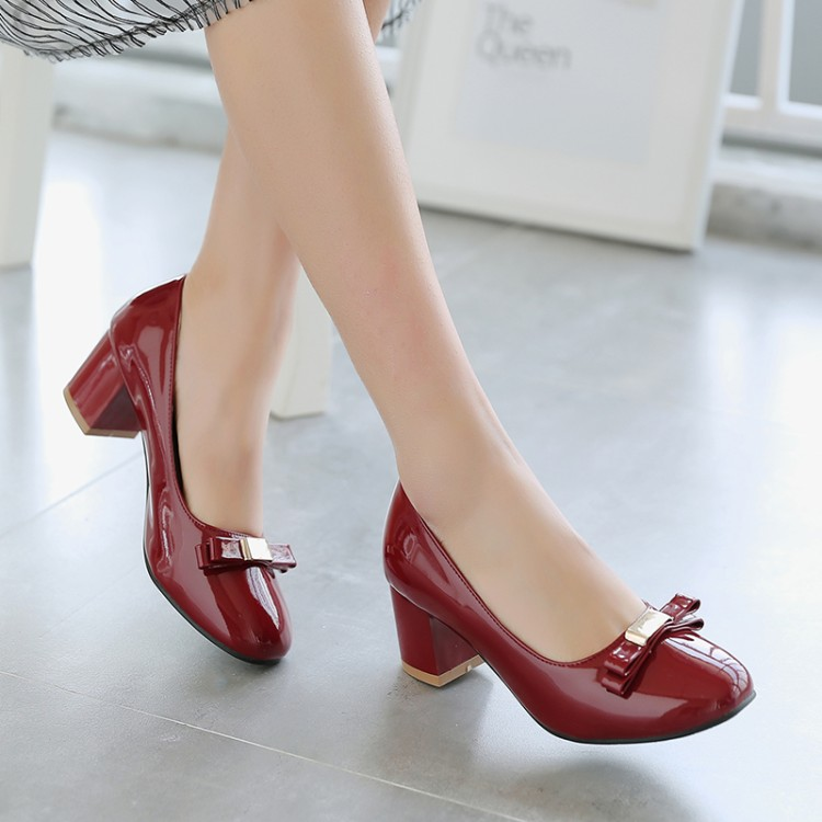 Big Size 11 12 13 ladies high heels women shoes woman pumps Sweet bow, square head, shallow, thick-heeled single shoesBig Size 11 12 13 ladies high heels women shoes woman pumps Sweet bow, square head, shallow, thick-heeled single shoes