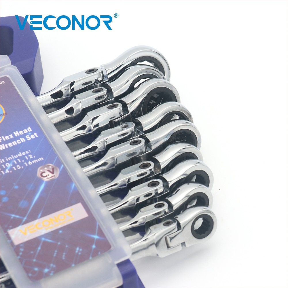 Image 3 - Veconor 9 Pieces Keys Set Wrench Flexible Head Ratchet Handle Wrench Set Swievel Ratchet Wrench Spanner 8 to 16mm Combo-in Wrench from Tools