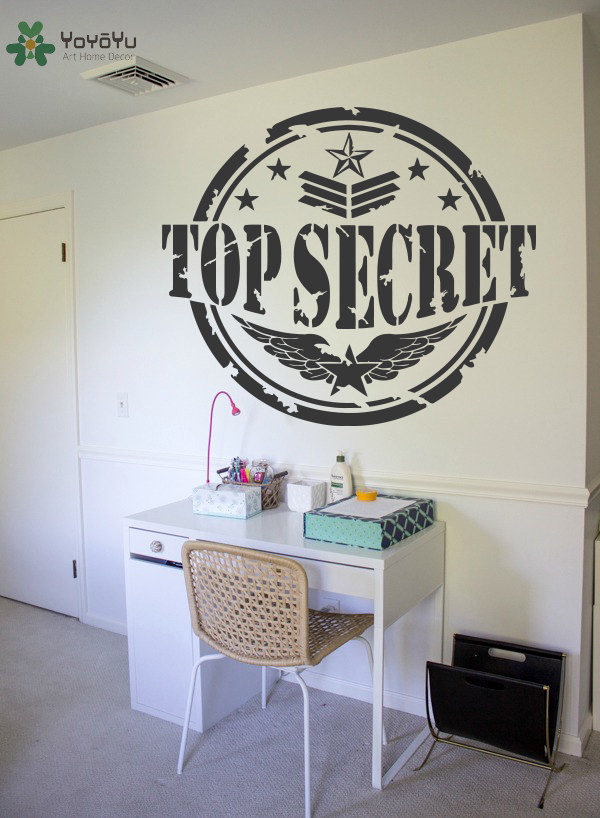 Symbol Design Wall Decal Quotes Top Secret Removable Stickers Vinyl Modern Design Wing Stars Pattern Stamp Home Decor MuralSY351