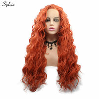 Sylvia Bouncy Curly Lace Front Synthetic Wigs For White Women Cosplay Side Part Heat Resistant Hair Orange Red Wig Glueless Wig
