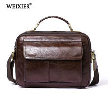 WEIXIER Solid Color Genuine Leather Casual Soft Material Business Travel Mens Handbag High Quality Multi-Function