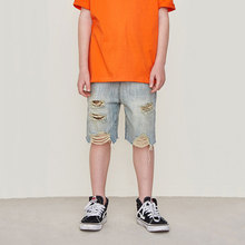Boys Blue Shorts2019 Spring and Summer New Street Style Children Distressed Denim Shorts Casual Straight