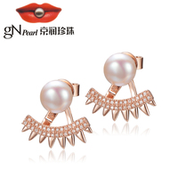 gNpearl Pearl Stud Earrings 925 Silver White Freshwater Pearl Stud Earrings 8 9mm Steamed Head Strong Glossy Women's Earrings