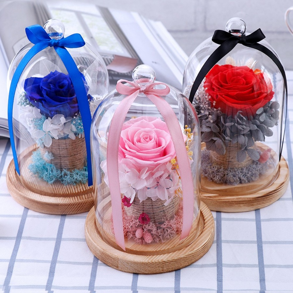 Weeding Gift Preserved Rose Flower in a Glass Dome on a Wooden Base ...