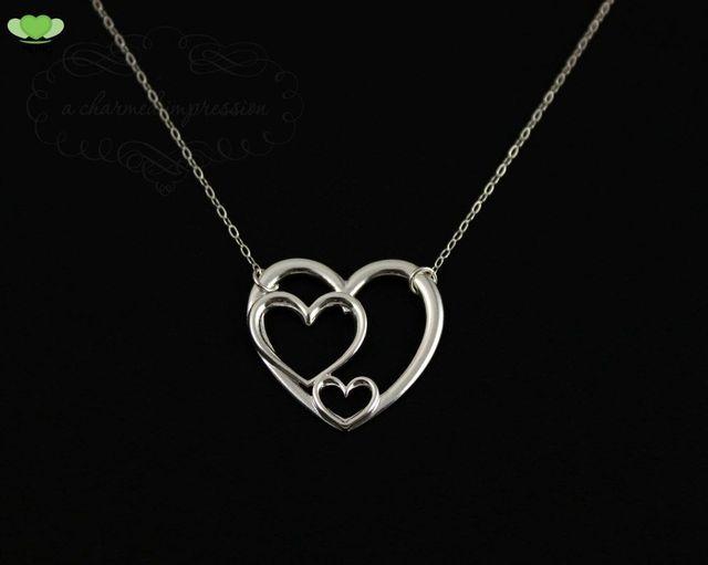 Three generations grandmother mother and child 3 heart necklace three generations grandmother mother and child 3 heart necklace beautiful triple heart pendant sanlan aloadofball Images