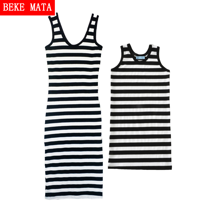 BEKE MATA Mother Daughter Dresses Beach 2017 Summer Striped Mother Daughter Matching Clothes Casual Family Look Girl Clothing family look clothes children cotton striped clothing mom baby girls casual dress matching for mother and daughter summer dresses
