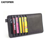 2015 First Layer Of Cowhide 100 Genuine Leather 12 Card Slots Business Card Holders Wallet Credit