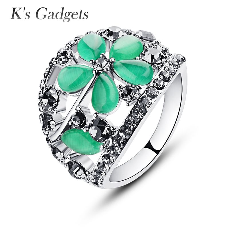 Green Natural Opal Ring Antique Silver color Vintage Jewelry Fashion Crystal Rhinestone Rings For Women Anelli Donna