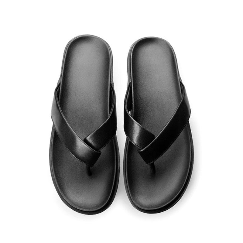 Alta Chanclas Banho Flip Chinelos Plataforma Preto De Espesso Praia Hombre Qualidade E Couro Indoor Macio Fora Flops Mens Black Sapatos q1aPRq
