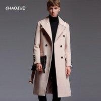 CHAOJUE Brand Mens Extra Long Woolen Coat 2017 Autumn/Winter England Artifical Cashmere Over Coat Business Causal Beige Outwear