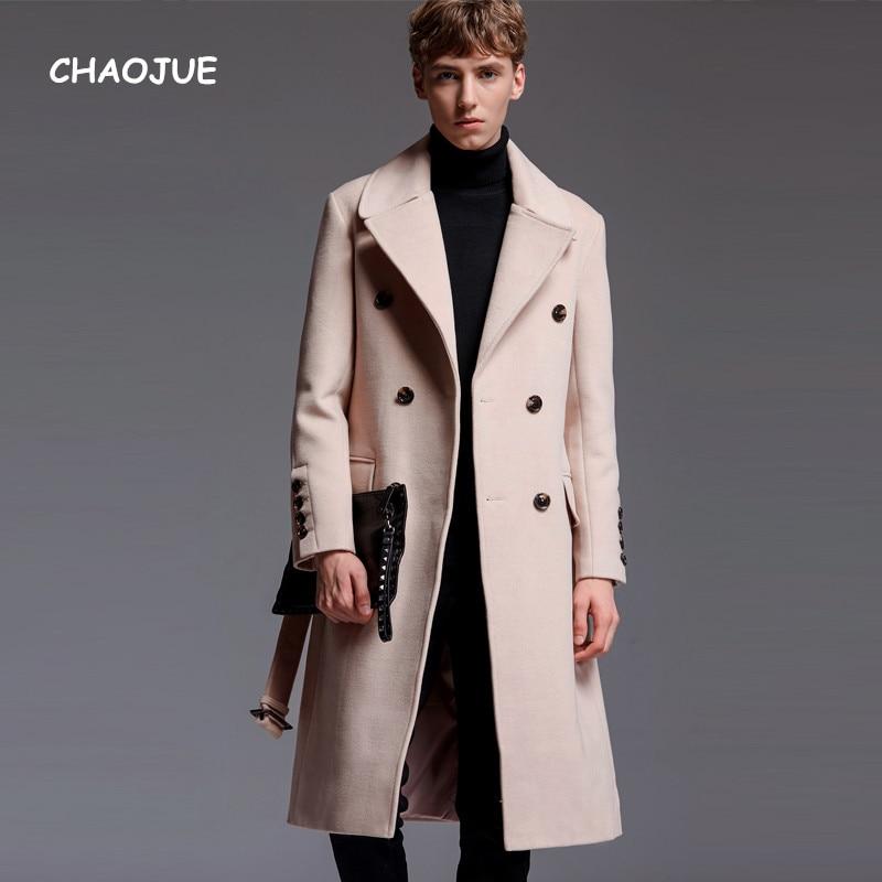 CHAOJUE Brand Mens Extra Long Woolen Coat 2018 Autumn/Winter England Artifical Cashmere Over Coat Business Causal Beige Outwear