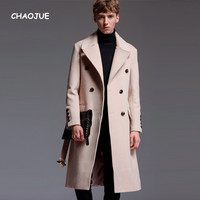 CHAOJUE Merk Mens Extra Lange Wollen Jas 2017 Herfst/Winter Engeland Artifical Kasjmier Over Jas Business Causale Beige Uitloper