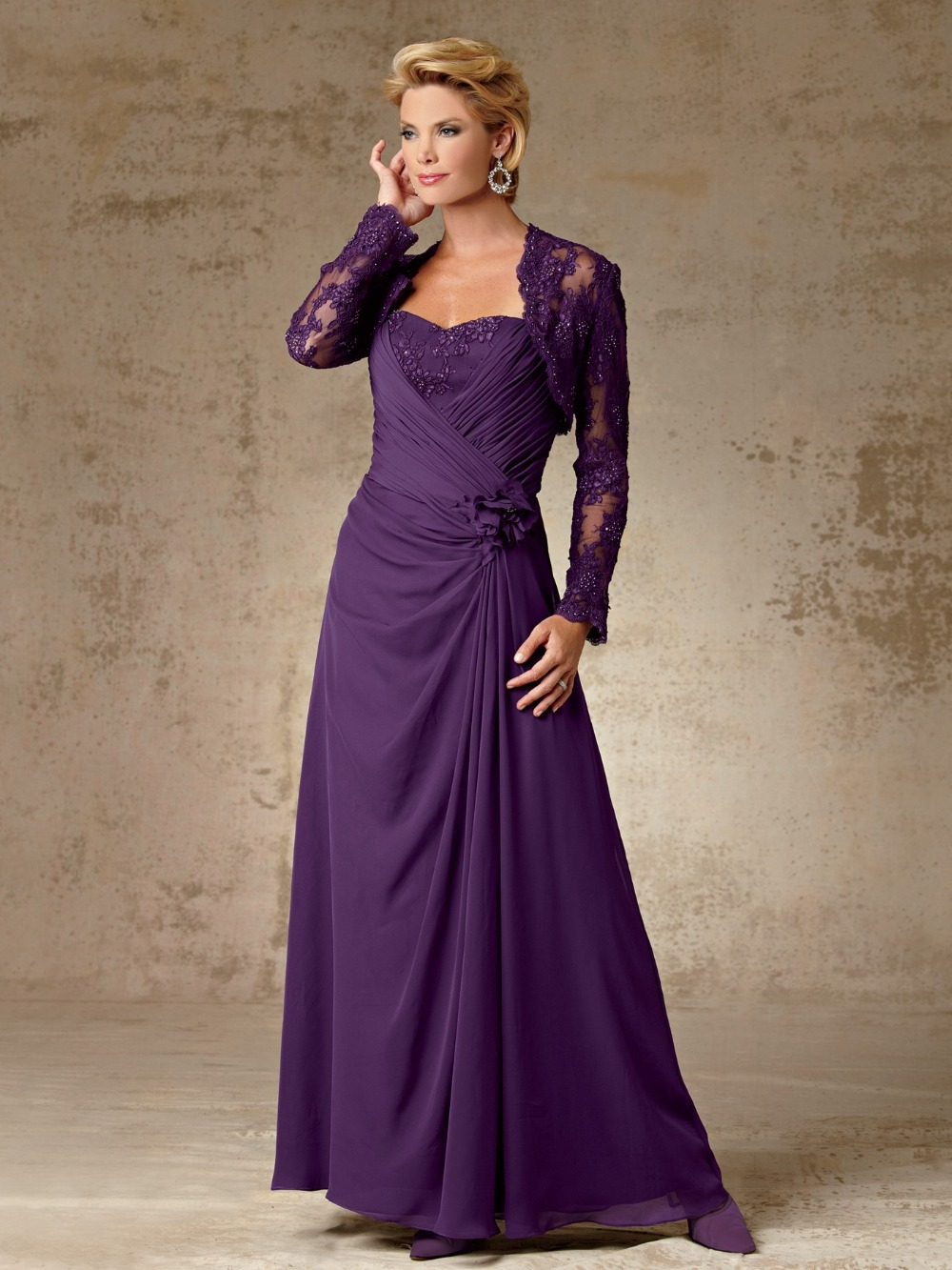 Elegant Long Chiffon Purple Mother Of The Bride Dresses With Lace
