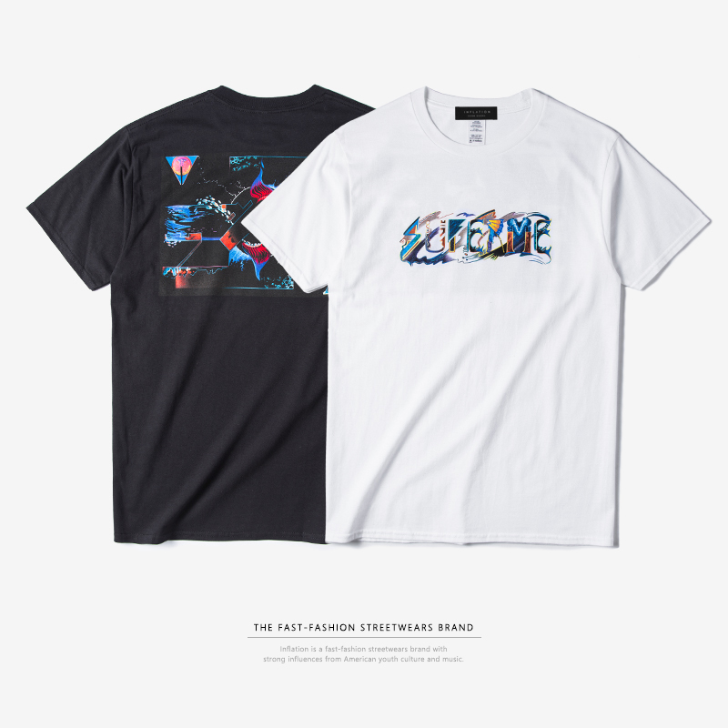 a05543123 INFLATION 2017 Mens Hip Hop Graphic Tees Men Streetwear Top Tees Casual  Cotton T Shirt -in T-Shirts from Men's Clothing on Aliexpress.com | Alibaba  Group