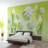 Custom Mural 3d Flooring Room Wallpaper Fresh Lily Papel De Parede 3d TV Setting Wall Murals