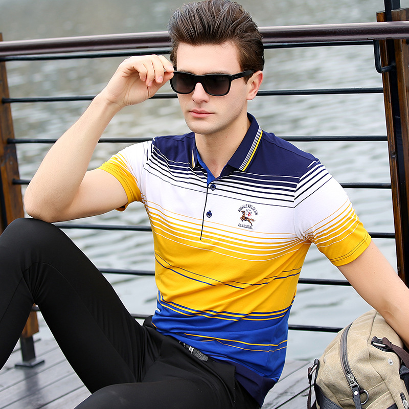 Breathable 2018 Spring Summer High Quality Tops   Polo   Shirt Men Cotton Striped Short Sleeve Business Casual Embroidery L-8509