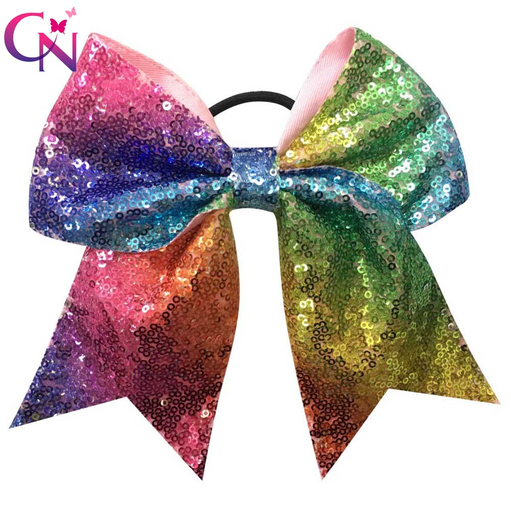 10 Pcs/lot 7 Rainbow Sequin Cheer Bows With Elastic Band For Girls Kids Handmade Large Cheerleading Hair Bows Hair Accessories metting joura vintage bohemian ethnic tribal flower print stone handmade elastic headband hair band design hair accessories