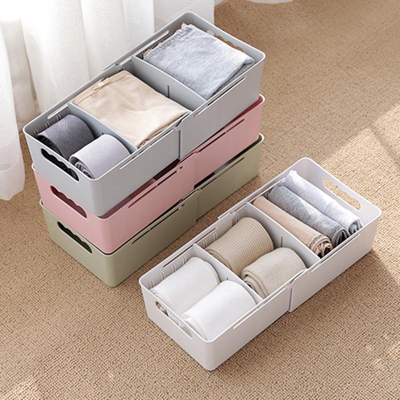 Plastic Scalable Underwear Storage Box For Ties Socks Shorts Bra Towel Underwear Organizer Divider Drawer Closet Organizer Case