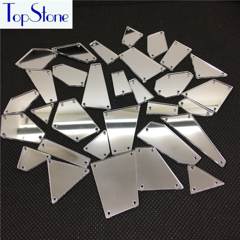 TopStone Top Quality 2-30N Shapes mirror sew on rhinestones with holes flat back acrylic Sew-on Stone for Dress decortaions