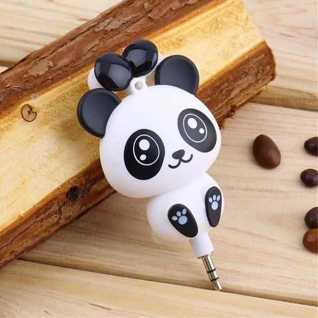 5d94dfe809d2be Cartoon panda 3.5mm Wired Retractable In-Ear Earphones for Mobile Phone MP3  MP4 Player