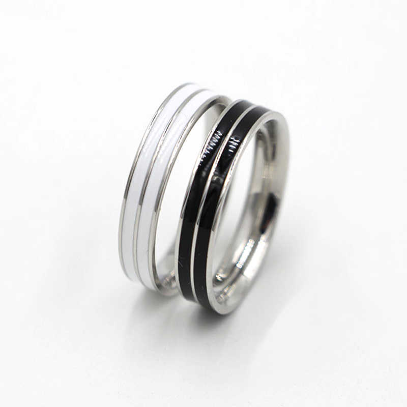 Luxury Charm Jewelry Imitation Ceramic Ring Black/White Resin Tail Finger Ring Titanium Steel Rose Gold-Color Enamel Ring Women