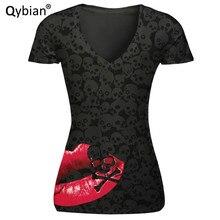 Free shipping T-shirt Women casual comfortable V-neck shirts women top tees Red mouth Black skull prints Short Sleeve