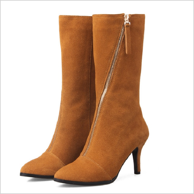 где купить QICIUS High Quality Thin Heels Genuine Leather Boots Women Shoes Solid Zip Short Plush Boots Mid-Calf Pointed Toe Boots B0001 по лучшей цене