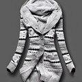 2016 Women Winter Thick Hooded Cardigans Sweaters Fleece Warm Solid Loose Knitted Coat Long Sleeve Knitwear Outerwear H9