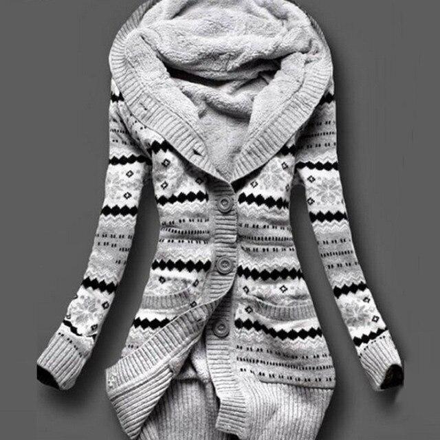2016 Women Winter Thick Hooded Cardigans Sweaters Fleece Warm ...