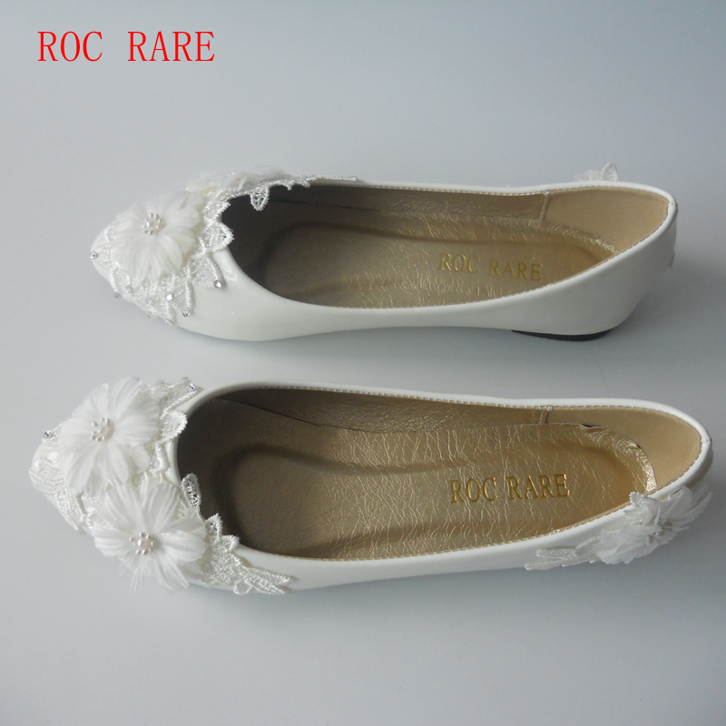Aliexpress Buy New White Lace Flowers Women Wedding Shoes Flat Heels Handmade Lace White