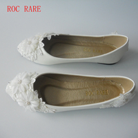 New White Lace Flowers Women Wedding Shoes Flat Heels Handmade Lace White Bridal Shoes Bridesmaid Shoes