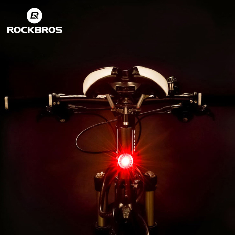 ROCKBROS Bike Bicycle Light USB Rechargeable Waterproof Intelligent IPX5 Taillight Mini LED MTB Road Bike Cycling Rear Lights outerdo 1 pair ipx5 waterproof intelligent mtb cycling light led bicycle hub light smart rechargeable bike wheel spoke diy light