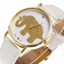 Женева burma слон узор Простой масштаб сплав золота циферблат белый кожаный ремешок 20 мм Для мужчин Пара Спортивные кварцевые часы c182