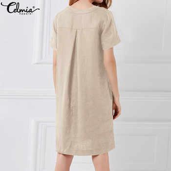 44f52b3e91c5a Summer Linen Dress 2019 Women Tunic Top Short Sleeve Shirt Button
