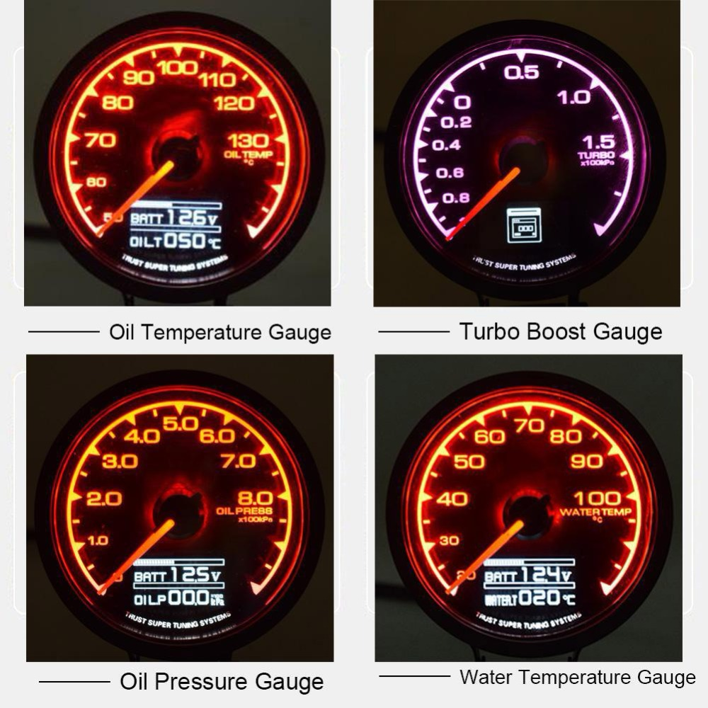 Car Oil Pressure Turbo Boost Oil Temp Water Temperature Gauge Meter for Car Racing Auto Styling