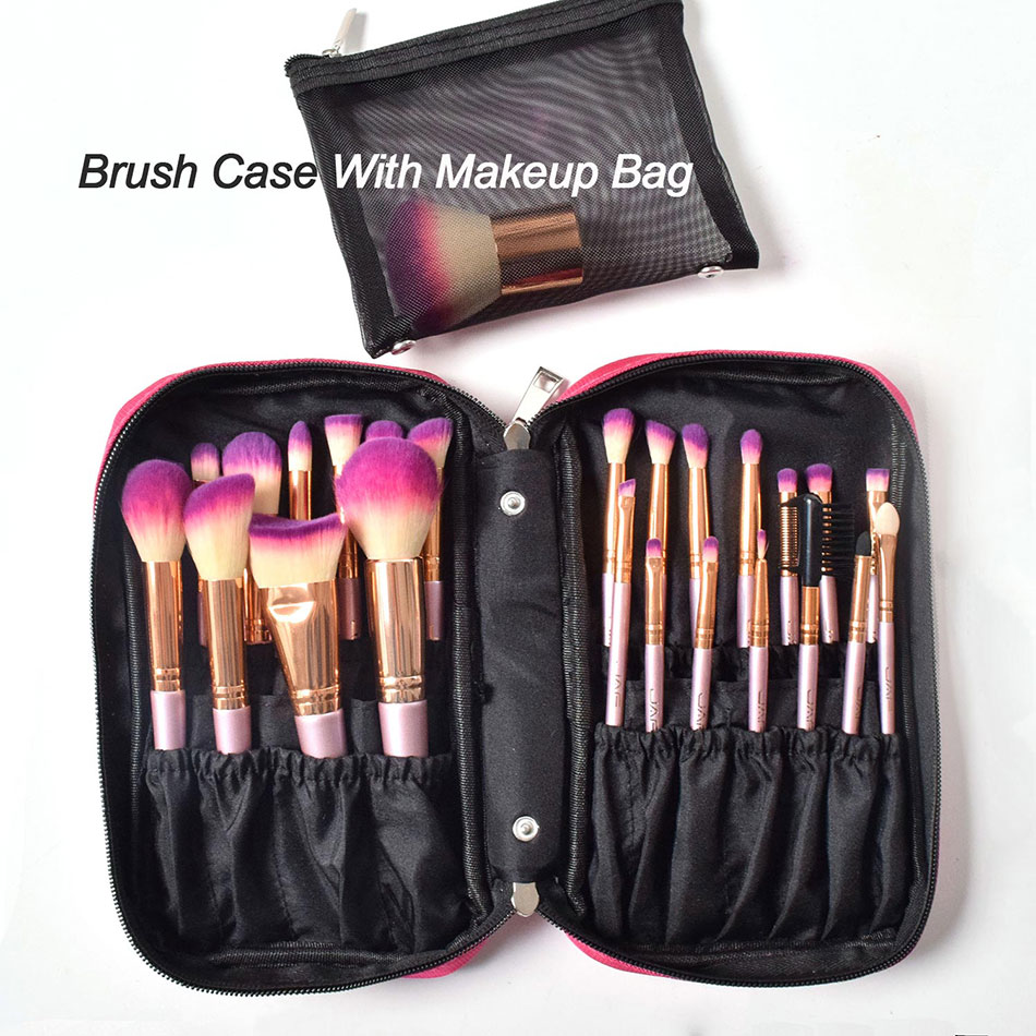 5d9e413b2bf5 JAF 26 pcs Gold Makeup Brush Set with Zipper Case Cosmetic Bag Make Up  Brushes Professional Studio Women Artist Travel Size - Makeup Brushes